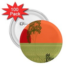 Sunset Orange Green Tree Sun Red Polka 2.25  Buttons (100 pack)