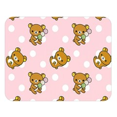 Kawaii Bear Pattern Double Sided Flano Blanket (Large)