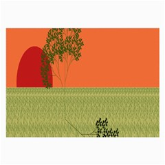 Sunset Orange Green Tree Sun Red Polka Large Glasses Cloth (2 Side)