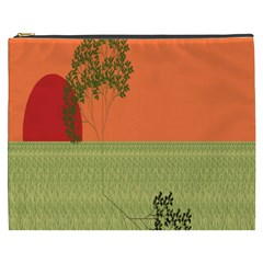 Sunset Orange Green Tree Sun Red Polka Cosmetic Bag (XXXL)