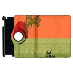 Sunset Orange Green Tree Sun Red Polka Apple iPad 2 Flip 360 Case