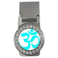 Hindu Om Symbol (Cyan) Money Clips (CZ)