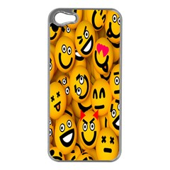Smileys Linus Face Mask Cute Yellow Apple iPhone 5 Case (Silver)