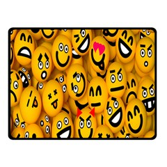 Smileys Linus Face Mask Cute Yellow Double Sided Fleece Blanket (small)