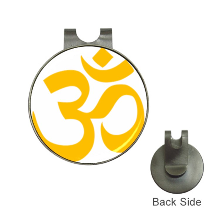 Hindu Om Symbol (Gold) Hat Clips with Golf Markers