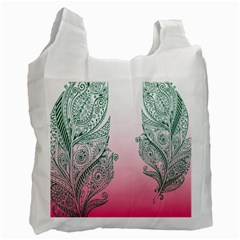 Toggle The Widget Bar Leaf Green Pink Recycle Bag (Two Side)