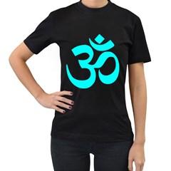 Aum Om Cyan Women s T-Shirt (Black) (Two Sided)