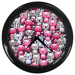 Cute Doodle Wallpaper Cute Kawaii Doodle Cats Wall Clocks (black)