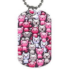 Cute Doodle Wallpaper Cute Kawaii Doodle Cats Dog Tag (two Sides)
