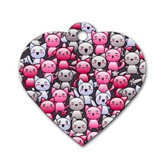 Cute Doodle Wallpaper Cute Kawaii Doodle Cats Dog Tag Heart (Two Sides)