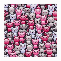 Cute Doodle Wallpaper Cute Kawaii Doodle Cats Medium Glasses Cloth (2-Side)