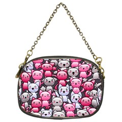 Cute Doodle Wallpaper Cute Kawaii Doodle Cats Chain Purses (Two Sides)