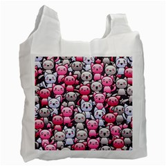 Cute Doodle Wallpaper Cute Kawaii Doodle Cats Recycle Bag (two Side)