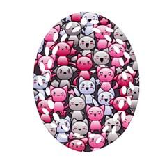 Cute Doodle Wallpaper Cute Kawaii Doodle Cats Ornament (Oval Filigree)