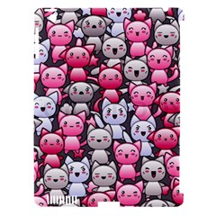 Cute Doodle Wallpaper Cute Kawaii Doodle Cats Apple Ipad 3/4 Hardshell Case (compatible With Smart Cover)