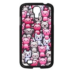 Cute Doodle Wallpaper Cute Kawaii Doodle Cats Samsung Galaxy S4 I9500/ I9505 Case (black)