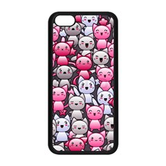 Cute Doodle Wallpaper Cute Kawaii Doodle Cats Apple Iphone 5c Seamless Case (black)