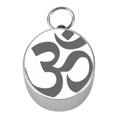 Hindu Om Symbol (Dark Gray)  Mini Silver Compasses