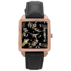 Kawaii Wallpaper Pattern Rose Gold Leather Watch