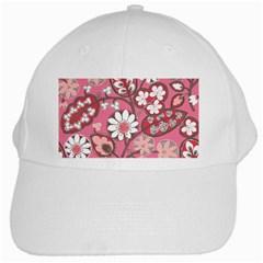 Pink Flower Pattern White Cap