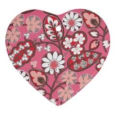 Pink Flower Pattern Ornament (Heart)
