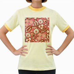 Pink Flower Pattern Women s Fitted Ringer T Shirts