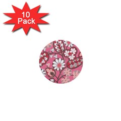 Pink Flower Pattern 1  Mini Buttons (10 Pack)