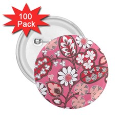 Pink Flower Pattern 2.25  Buttons (100 pack)