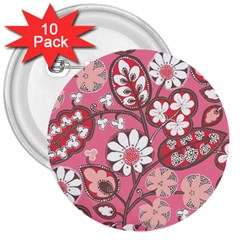 Pink Flower Pattern 3  Buttons (10 Pack)