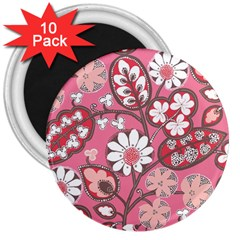 Pink Flower Pattern 3  Magnets (10 Pack)