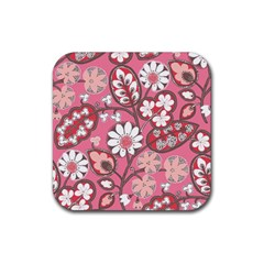 Pink Flower Pattern Rubber Square Coaster (4 pack)