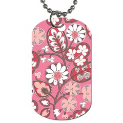 Pink Flower Pattern Dog Tag (two Sides)
