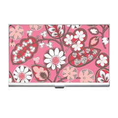 Pink Flower Pattern Business Card Holders