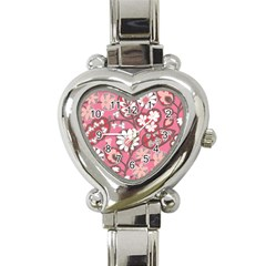 Pink Flower Pattern Heart Italian Charm Watch