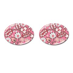 Pink Flower Pattern Cufflinks (Oval)