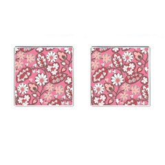Pink Flower Pattern Cufflinks (square)