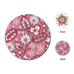Pink Flower Pattern Playing Cards (round)