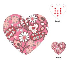 Pink Flower Pattern Playing Cards (heart)