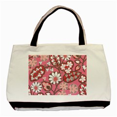 Pink Flower Pattern Basic Tote Bag