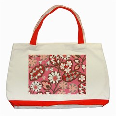 Pink Flower Pattern Classic Tote Bag (red)