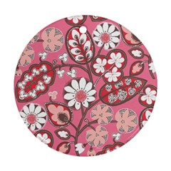 Pink Flower Pattern Round Ornament (two Sides)