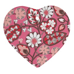 Pink Flower Pattern Heart Ornament (Two Sides)