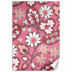 Pink Flower Pattern Canvas 12  x 18