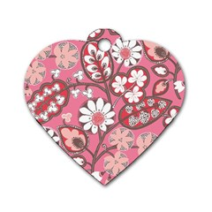 Pink Flower Pattern Dog Tag Heart (Two Sides)