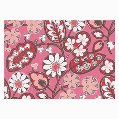 Pink Flower Pattern Large Glasses Cloth