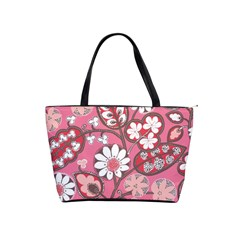 Pink Flower Pattern Shoulder Handbags