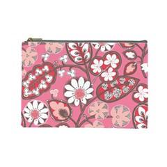 Pink Flower Pattern Cosmetic Bag (Large)