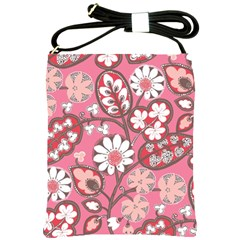 Pink Flower Pattern Shoulder Sling Bags