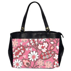 Pink Flower Pattern Office Handbags (2 Sides)