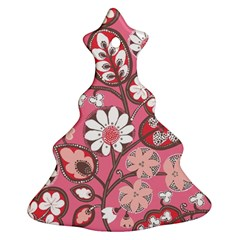 Pink Flower Pattern Christmas Tree Ornament (two Sides)